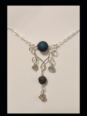 Blue Druzy Quartz Diffuser Necklace
