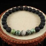 African Turquoise, and Artistic Jasper Bead Diffuser Bracelet, Aromatherapy Bracelet, Lava Bead Bracelet, Large