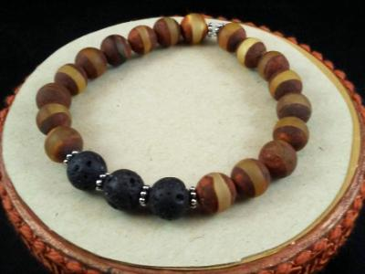 Tibetan Agate Dzi Bead Diffuser Bracelet, Aromatherapy Bracelet, Lava Bead Bracelet,