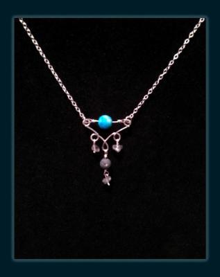 Larimar Blue Agate Gemstone Diffuser Necklace