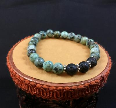 African Turquoise, Diffuser Bracelet, Aromatherapy Bracelet, Lava Bead Bracelet