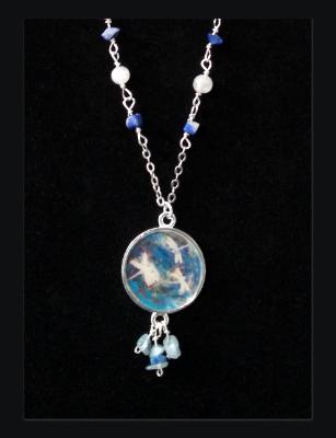 Cobalt Blue Dragonfly Art Print Pendant and Gemstone Necklace