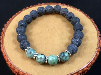 Lava Rock & African Turquoise Diffuser Bracelet