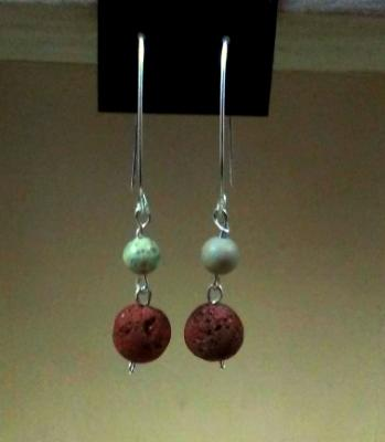 Blue Green Jasper Diffuser Earrings with French Hook Ear Wires
