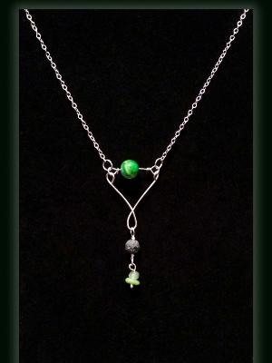 Fire Agate and Prehnite Gemstone Diffuser Necklace