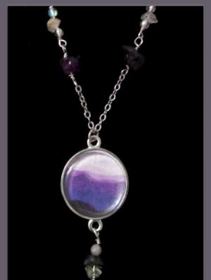 Lavender Mountains Art Print and Gemstone Necklace