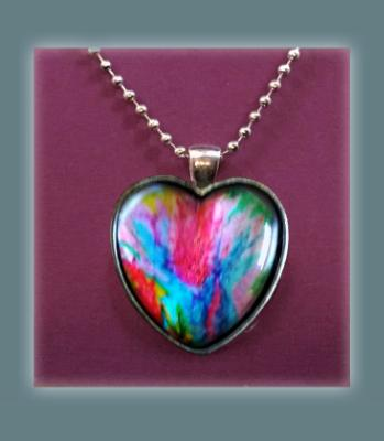 Heart Pendant Necklace, Abstract Craypa Art Print Necklace, Fine Art Print Jewelry