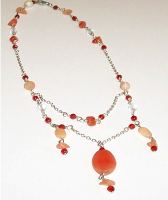 Fancy Carnelian, Moonstone and Aventurine Necklace