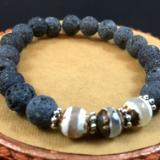 Faceted Tibetan Agate & Lava Rock Diffuser Bracelet