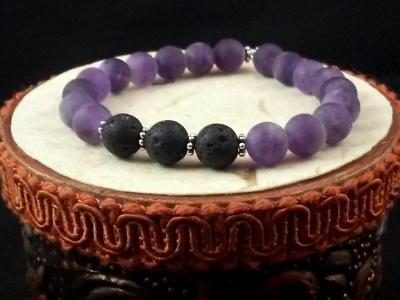 Matte Amethyst Diffuser Bracelet, Aromatherapy Bracelet, Lava Bead Bracelet,