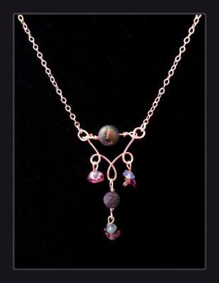 Purple Druzy Quartz Gemstone Diffuser Necklace