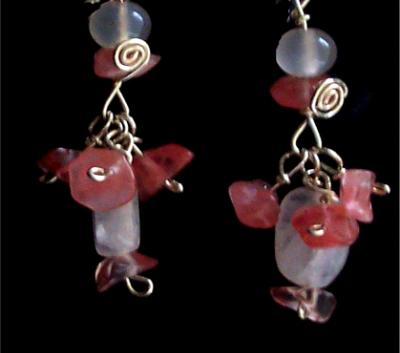 Cherry quartz and moonstone earrings