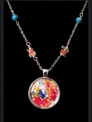 Garden Blooms Art Print Pendant and Gemstone Necklace