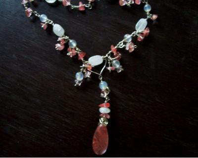 Cherry Quartz and Moonstone Necklace