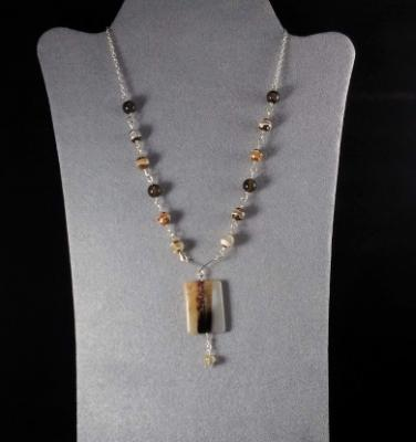 Tabular Agate Wire Wrapped Necklace