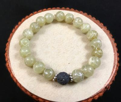 Carved Green Soochow Jade Beaded Diffuser Bracelet