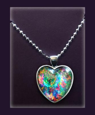 Heart Flames Heart Pendant Necklace, Abstract Art Print Necklace, Fine Art Print Jewelry