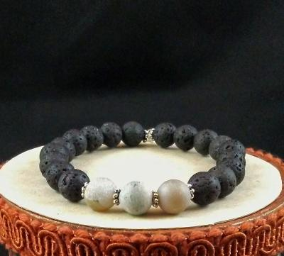 Aurora Druzy Quartz and Lava Rock Diffuser Bracelet