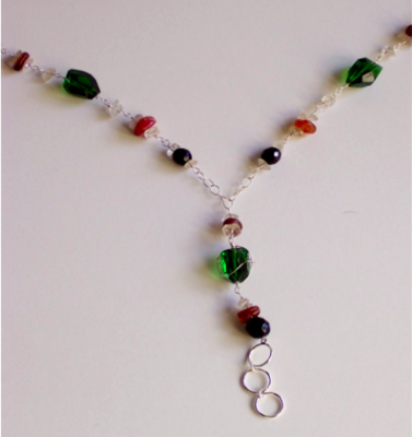 Wire Wrap Lanyard Necklace// Green and Black Czech Glass with Carnelian and Jade Beads.
